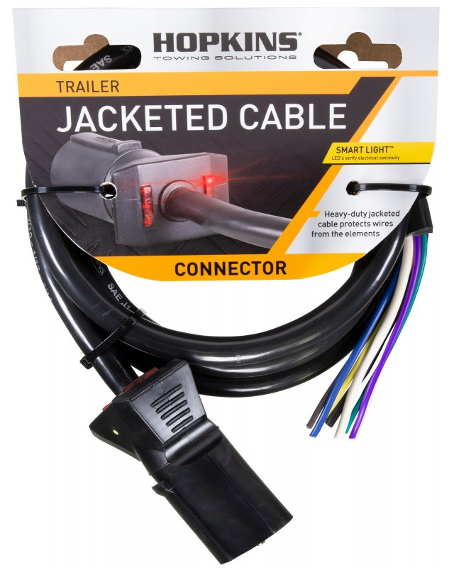 LED Test 7 Blade Molded Connector w/ Cable, SAE Wiring, 6' (retail package)