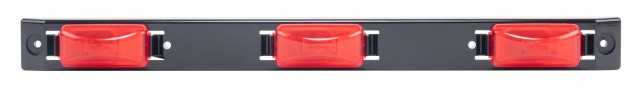 Sealed Identification Light Bar with Black Polycarbonate Base, Red