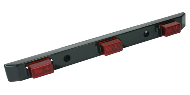 Identification Light Bar with Black Polycarbonate Base, Red