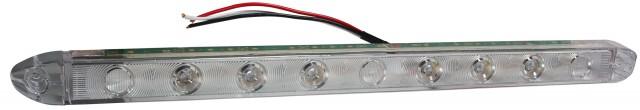 LED Low-Profile S/T/T Light Bar, Clear Lens/Red LEDs